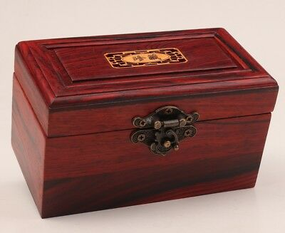 Vintage Chinese Red Wood Jewelry Box High-End Gift Private Collection Old
