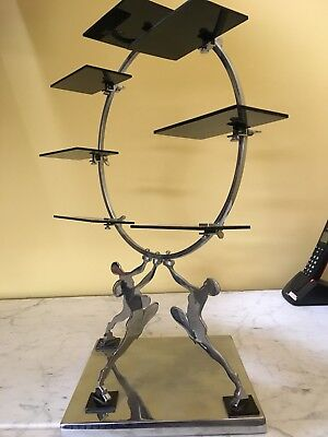 Art Deco American  Chrome Large  3 Maiden Display Stand 17 Inches C1930