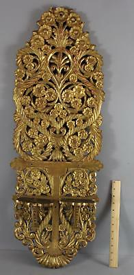 Large Antique 19thC Victorian Hand Carved Flowers & Gold Gilt Wood Shelf, NR