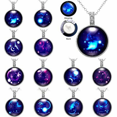 12 Constellations Time Gem Glow In The Dark Luminous Pendant Necklace Jewelry