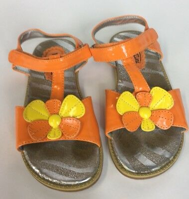 Venettini Girls Sandals Shoes T-Strap Orange Yellow Patent Floral EUR 33 US 2