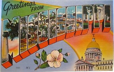 1940s POSTCARD LARGE LETTER GREETINGS FROM MISSISSIPPI