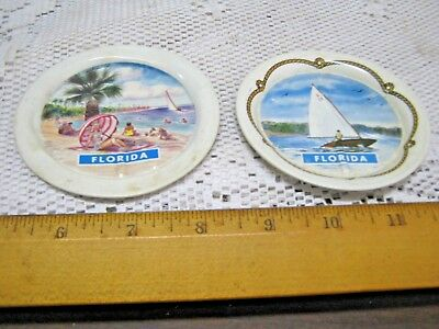 Lot of 2 Vintage FLORIDA Small Miniature Coasters Sailing Beach Coastal Nautical