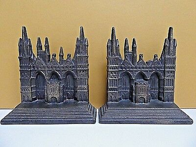 Pair of Cast Iron Peterborough Cathedral Bookends Connecticut Foundry 1928