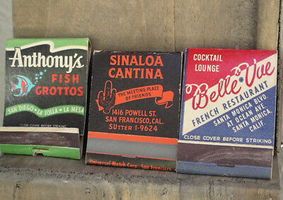 Vintage Matchbook Bar coctail Lounge Resturant Sinaloa Cantina Anthony SF CA lot