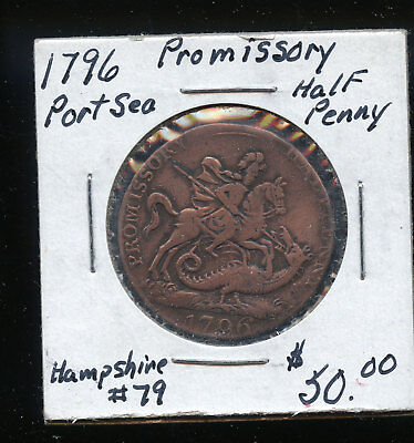 British 1796 Promissory Half Penny Token Sea Ship Fish Salmon D2-34