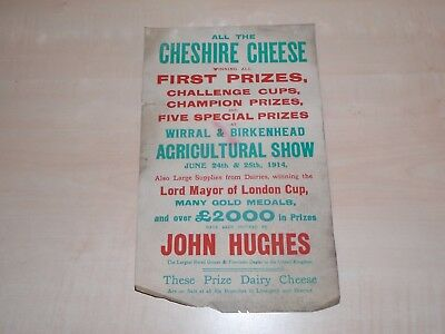 June 1914 Wirral&Birkenhead Agricultural Show Advertising Poster Cheshire Cheese