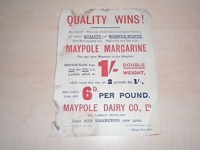 1914 Liverpool Maypole Dairy Grocery Stores Advertising Handbill Lists All Store