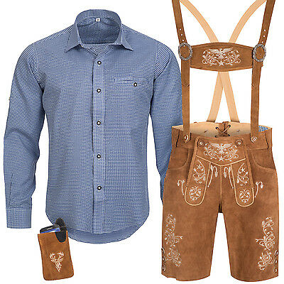 Traditional Costume Set Men's Lederhose with Carrier Shirt Case Oktoberfest