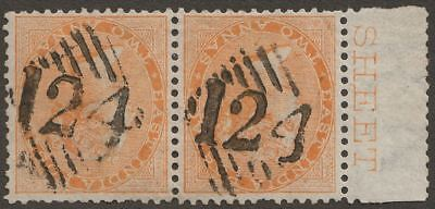 India used Aden 1865 QV 2a Orange Pair Used w 124 Aden Postmarks SG Z30 cat £30