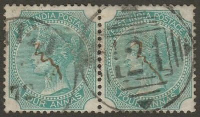 India used Aden 1872 QV 4a Green Pair Used 124 Aden Duplex Postmark SG Z37 KD6
