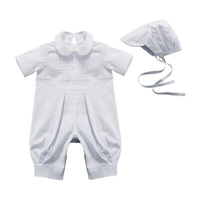 Christening Baby Boy Outfit Romper Baptism Suit Cotton Clothes White 0-12 month