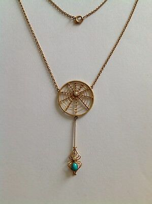 Antique Murrle Bennett 9ct Gold Turquoise & Seed Pearl Spiders Web Pendant