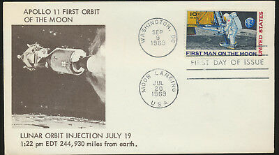 C76 Moon Landing Anderson Blue Cachet 1969 Dual Cancel unaddressed FDC LOT 1156