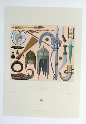 1880 - Waffen arms weapon Rüstung armor Indien India Lithographie lithograph