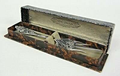 Melon Fork Bird of Paradise Design Stamp Marked, Silver Plate Dutch GERO ZILVIUM