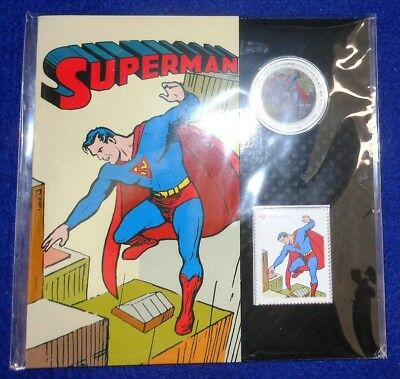 2013 CANADA SUPERMAN THEN & NOW LENTICULAR (3-D) 50c COIN & STAMP SET...OGP