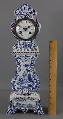 Antique Miniature French Faience Hand Painted Delft Tall Case Grandfather Clock