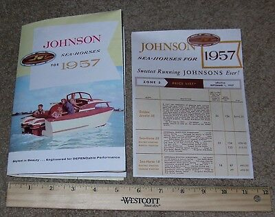 1957 JOHNSON SEA-HORSE Outboard Boat Motor Dealer Sales Brochure Catalog, Prices