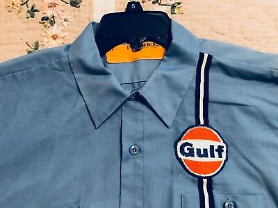 Vintage Gulf Oil Station Employee Shirt Short Sleeve Button Down Size Large