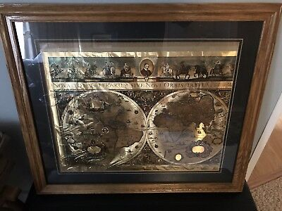 Vintage framed gold foil blaeu wall map old and new world 27 by 23 vintage framed gold foil blaeu wall map old and new world 27 by 23 publicscrutiny Images