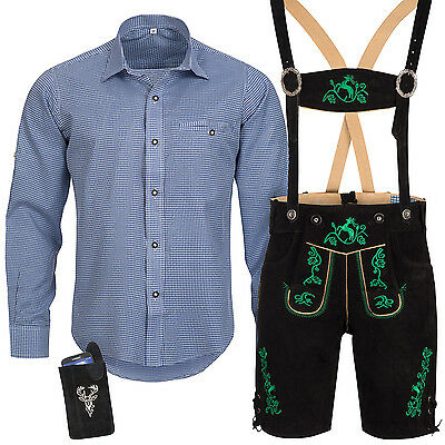 Traditional Costume Set Men's Lederhose with Uniform Strap Shirt Bag Oktober