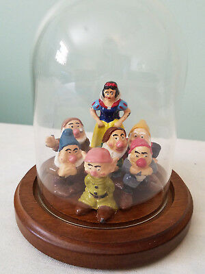 Disney Snow White & 7 Dwarves Under Glass Dome Vintage Pot Metal Unsigned