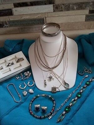 Lot of Sterling Silver Mixed Jewelry Vintage To Now Bracelets Necklaces 138 gr