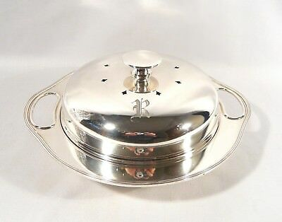 Antique MERIDEN B Co SILVERPLATE  Hot water Muffin BREAKFAST COVERED DISH BOWL