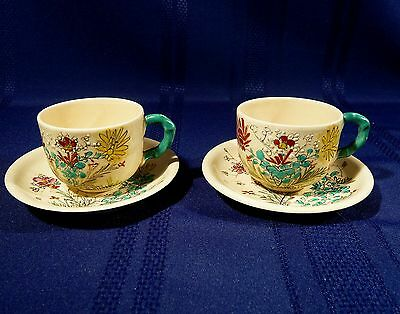 2 Antique Japanese Kinkozan Satsuma Teacups Bamboo Handle Butterflies Flowers