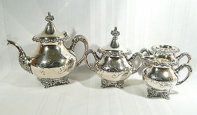 RARE MAKER Antique Aesthetic Tea Service Hand Engraved Imperial Silver Plate Set