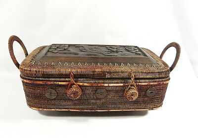 "Vintage 14 1/2"" LOMBOK INDONESIA Footed BASKET Carved Tribal Bird Chinese Coins"