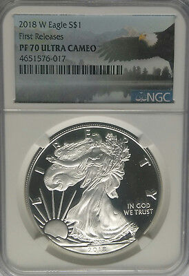 NGC PF70 2018-W Proof American Silver Eagle $1 First Releases US Mint 1oz Coin ^