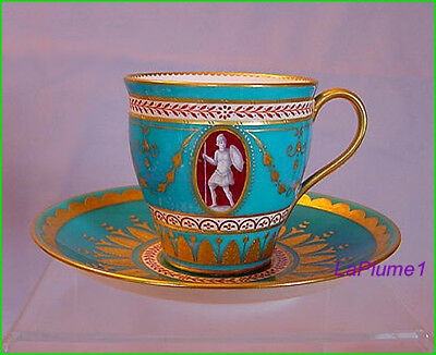 SCARCE MINTON CHINA DEMITASSE CUP & SAUCER w/GREEK GOD/GODDESS ~ARES & ERATO