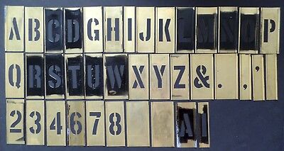 "Vintage NSN Adjustable Brass 2"" Stencils in Box - Letters Numbers - INCOMPLETE"