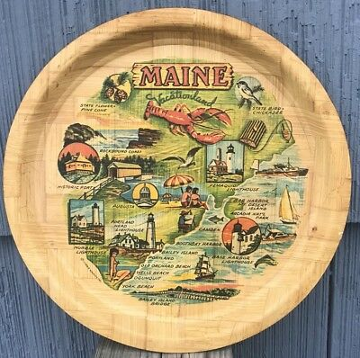 "Vintage Maine Serving Tray - Maine Vacationland Bamboo 12 15/16""  Carrib Novelty"