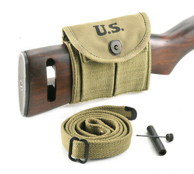 USGI WW2 .30 M1 CARBINE SLING, OILER, & BUTTSTOCK POUCH Lt. OD Green Dated 1943