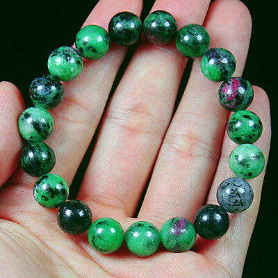 168.3Ct 100% Natural Red Green Bi Color Ruby In Zoisite Beads Bracelet BRG325