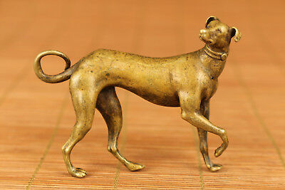 Rare Chinese Old  bronze Handmade Carved Dog Statue netsuke figure collectable