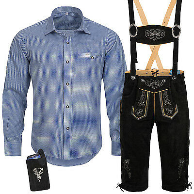Traditional Costume Set Men's Lederhose with Uniform Strap Shirt Case