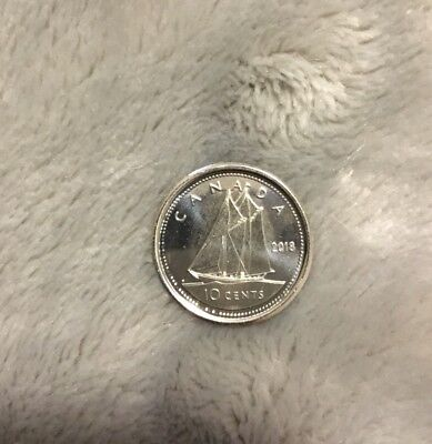 Straight from Original Mint Roll Canada 2015 UNC 10 CENT NICE BU Dime