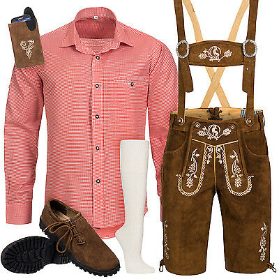 Traditional Costume Set Men's Leather Trousers with Uniform Strap Shirt