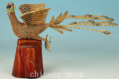 Rare Old Copper Cloisonne Hand Carving Peacock Collect Statue Art Decoration