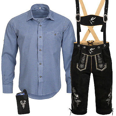 Traditional Costume Set Men's Lederhose with Uniform Strap Shirt Bag Octoberfest