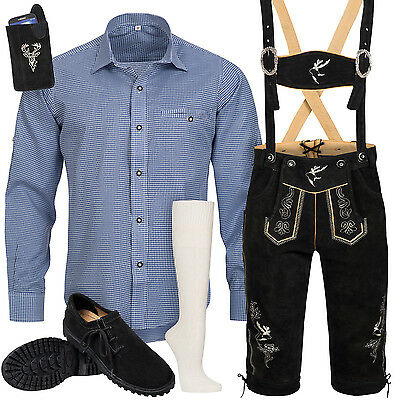Traditional Costume Set Men's Leather Trousers with Uniform Straps Shirt Shoes