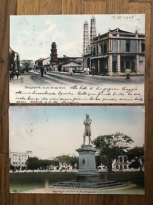 2 X Straits Settlements Old Postcard Singapore Statue Road To China Tsingtau !!