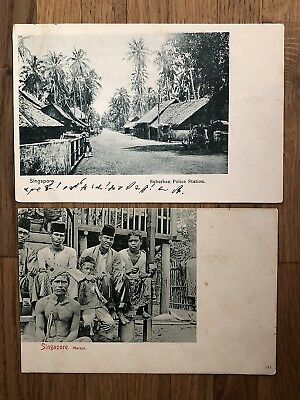 2 X Straits Settlements Old Postcard Singapore Police Malays To China 1901 !!
