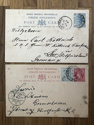 2 X Straits Settlements Old Postcard Singapore To Germany 1887 1898 !!