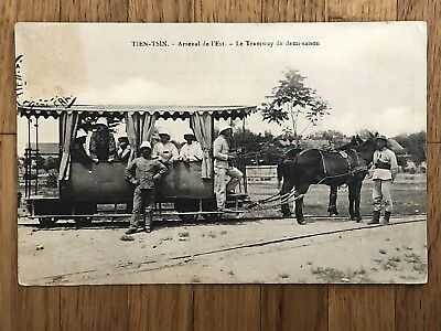 China Old Postcard European Soldiers Chinese Man Train Railway To France 1911 !!