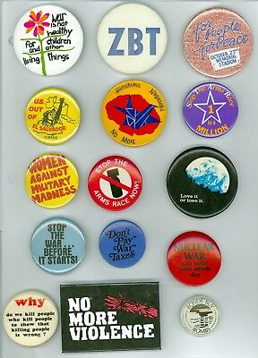 15 Vintage 1970s-80s Anti-War Political Cause Pinback Buttons No More Violence